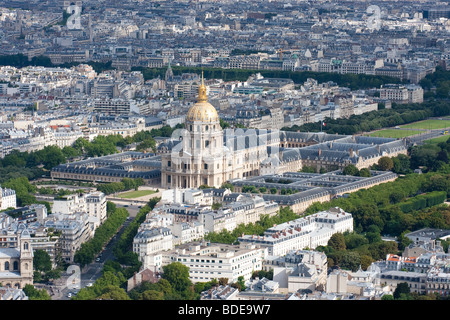 High point view of Les Invalides with the tomb of Napoleon Bonaparte. - Stock Photo