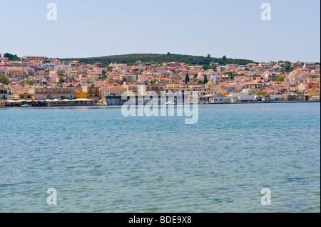 View over Argostoli Bay toward the town on the Greek Mediterranean island of Kefalonia Greece GR - Stock Photo