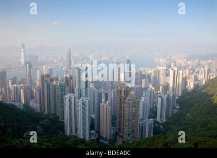 View from The Peak, Shan Teng, Hong Kong, China. - Stock Photo