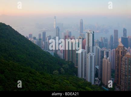 View from The Peak, Shan Teng, Hong Kong, China. - Stock Photo