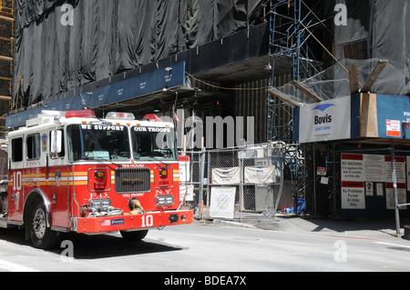 A fire engine parked at Deutsche Bank, part of the World Trade Center site in Manhattan. Deutsche Bank is being torn down.