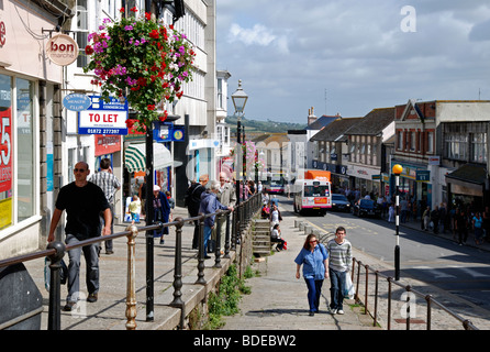 people shopping in market jew street, penzance cornwall, uk - Stock Photo
