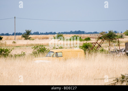 Old car wreck in a field. Overgrown with grass and weed. - Stock Photo