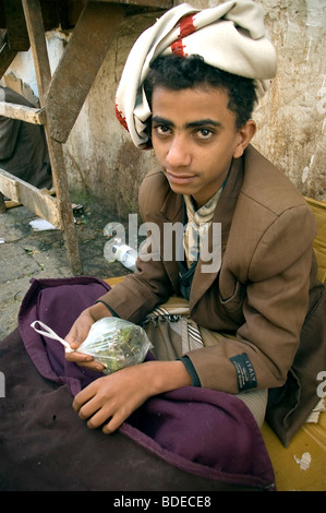 A young teenager selling bags of khat or qat - a chewable leafy stimulant and legal drug in the market in Sanaa, - Stock Photo