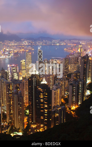 View from The Peak at dusk Shan Teng, Hong Kong, China. - Stock Photo