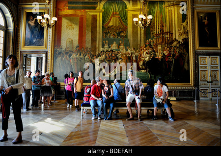 Versailles Palace - Tourists Visiting French Monument, 'Chateau de Versailles', inside Royal Apartments, Young COuple - Stock Photo