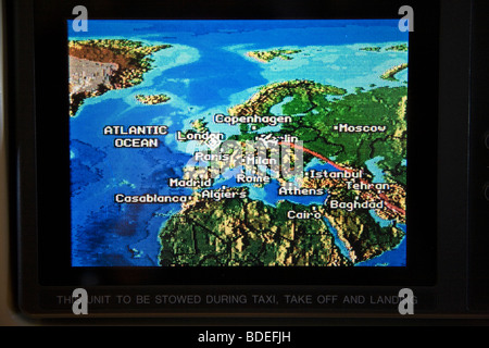 Aeroplane flight position map showing aircraft position above Germany. - Stock Photo