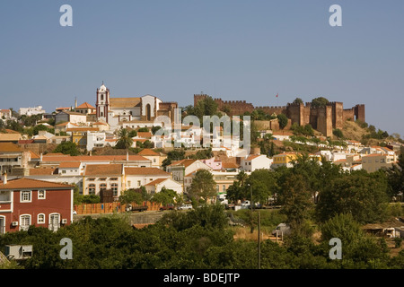 Portugal Algarve Silves, town, castle & cathedral - Stock Photo