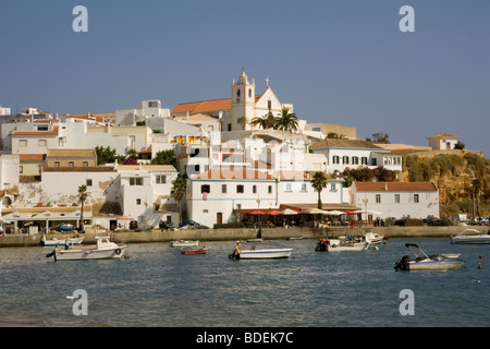 Portugal Algarve Ferragudo harbour - Stock Photo