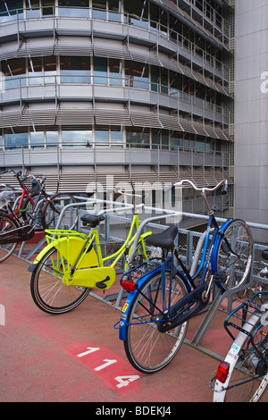 Europe, Netherlands, Holland, Amsterdam, Bicycle park in cental Amsterdam outside the main train station - Stock Photo