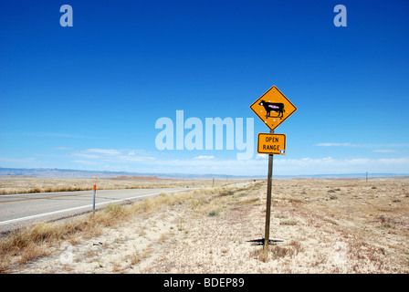 Open Range traffic sign by the side of the road in Utah