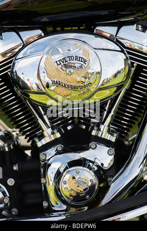 Harley Davidson motorcycle v-twin engine with 'live to ride' custom casing - Stock Photo