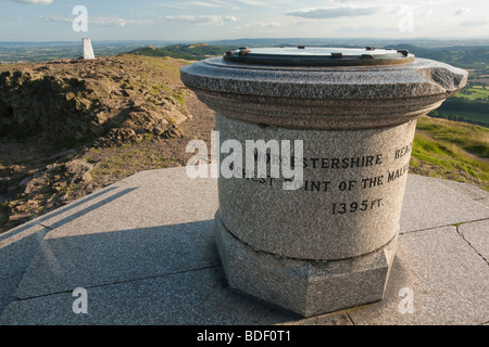 Summit stone and plaque memorial on the top of Worcestershire Beacon, The Malvern Hills, Worcestershire, Uk - Stock Photo