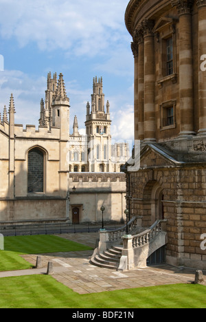 Radcliffe Square with a partial view of the Radcliffe Camera and All Soul's College Oxford England UK - Stock Photo