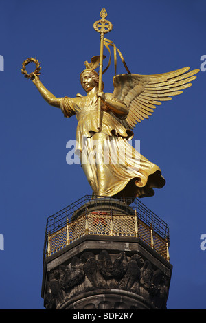 The Victory Column (the Siegessaule) in Berlin, Germany - Stock Photo