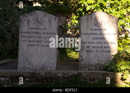 Headstones in St Nicholas Church graveyard of 19th century novelist Jane Austen's mother and sister, Chawton, Hampshire, - Stock Photo