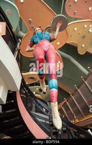 Colourful statue of a waitress, Annettes Diner, Disneyland village, Paris, France - Stock Photo