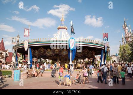 Disneyland Paris, scene at the large carousel, France , Europe - Stock Photo