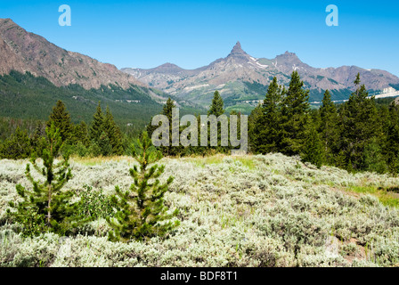 View of mountain peaks from the Beartooth Highway. - Stock Photo