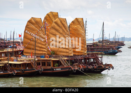 Chinese style junks about to set sail around Halong Bay in northern Vietnam - Stock Photo