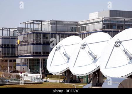 Kabel Deutschland company, satellite dishes in Unterfoehring near Munich, Bavaria, Germany, Europe - Stock Photo