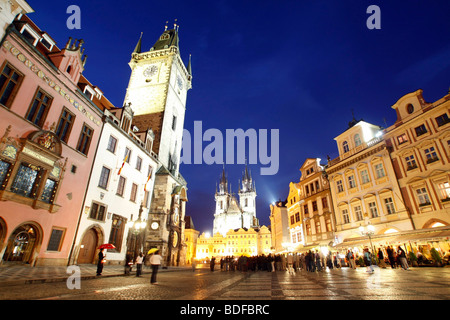 Old Town Square at night, Prague, Central Bohemia, Czech Republic, Eastern Europe - Stock Photo