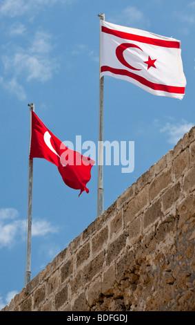 Flags of Northern Cyprus and Turkey, Kyrenia Castle, also known as Girne Castle, Northern Cyprus, Cyprus, Europe - Stock Photo