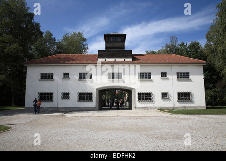 View of Dachau Concentration Camp Memorial Site Main Entrance - Stock Photo