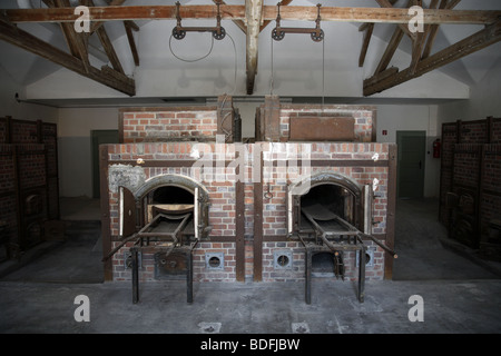 Two furnaces, part of the crematorium built in 1942/1943, Dachau Concentration Camp Memorial Site, Dachau, Germany - Stock Photo