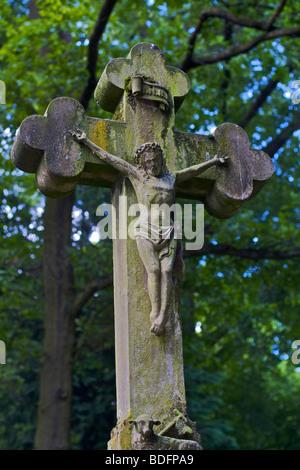 Stone cross on a gravestone, Old Cemetery, Bonn, North Rhine-Westphalia, Germany, Europe