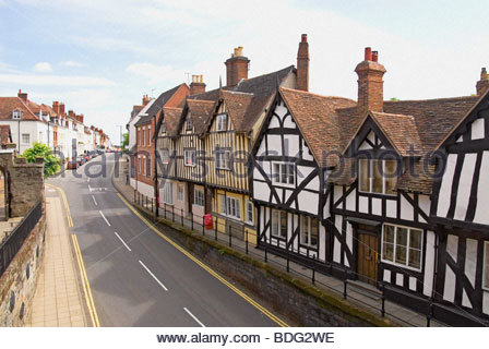 Historical timber frame houses in Warwick a medieval county town of Warwickshire, England. - Stock Photo