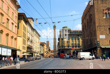 View of Via Rizzoli and the Famous Two Towers in Bologna Italy - Stock Photo