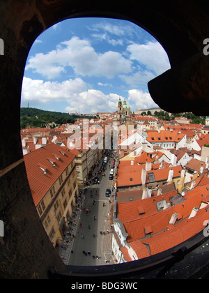 View from Lesser Town Bridge Tower, Prague, Central Bohemia, Czech Republic, Eastern Europe - Stock Photo