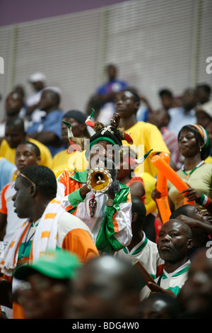 Ivory coast fans in drumming band. Ivory Coast V Mali. African Cup of Nations 2008. Ohene Djan stadium. Accra. Ghana. - Stock Photo