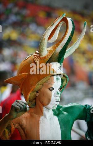 Ivory coast fan in Elephant costume. Ivory Coast V Mali. African Cup of Nations 2008. Ohene Djan stadium. Accra. - Stock Photo