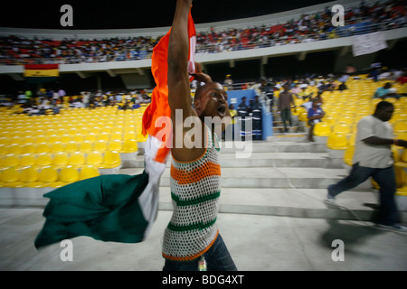 Football Fans. Ivory Coast V Mali. African Cup of Nations 2008. Ohene Djan stadium. Accra. Ghana. West Africa - Stock Photo
