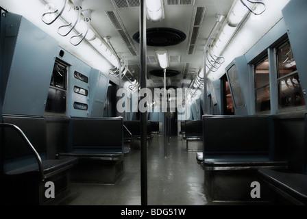 Historic subway wagon, New York, USA, North America - Stock Photo
