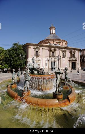 Fountain in front of the cathedral (la seu) on Plaza de la Virgen. Valencia. Spain - Stock Photo