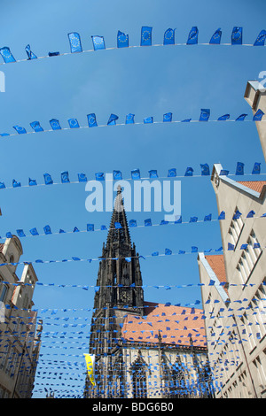 Europe Day in Muenster, gabled houses on the Prinzipalmarkt square, St. Lamberti Kirche church, North Rhine-Westphalia, - Stock Photo