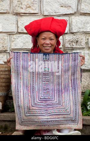 Black Hmong woman in Sapa, Vietnam - Stock Photo