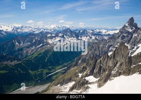 Aiguille Noire de Peuterey, Les Glaciers de la Vanoise, La Grande Motte and Val Veny, Mont Blanc Massif, Alps, Italy, - Stock Photo