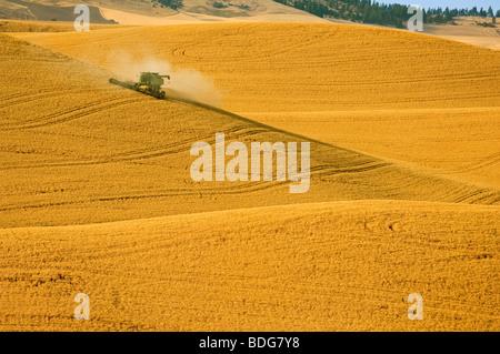 Agriculture - A John Deere combine harvests wheat on rolling hillside terrain / Palouse Region, near Pullman, Washington, - Stock Photo