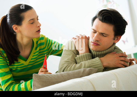 MAN WITH FEVER - Stock Photo