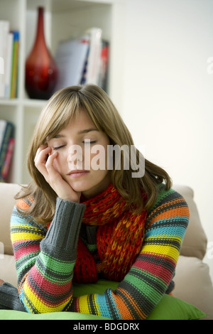 TIRED WOMAN - Stock Photo