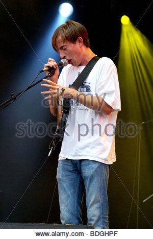 Jack Steadman singer and guitarist of indie rock band Bombay Bicycle Club performing live - Stock Photo
