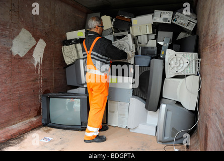 GERMANY HAMBURG collection and recycling of electronic scrap at public recycle collection place - Stock Photo