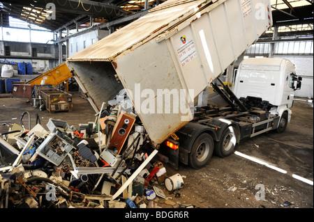 GERMANY HAMBURG recycling of electronic scrap at electronic recycling company TCMG, not used electronic consumer - Stock Photo