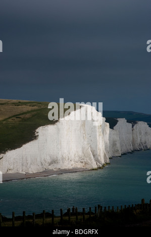 Seven Sisters Cliffs from Seaford Head, Sussex, Britain. - Stock Photo