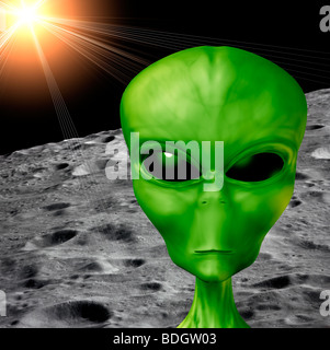 futuristic 3D computer generated bionic male alien on moon surface - Stock Photo