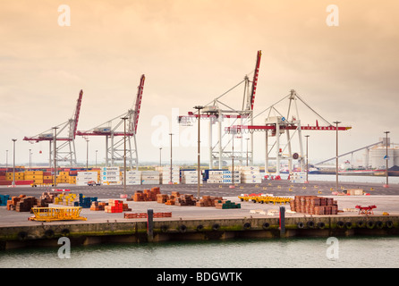 Cranes on the industrial port of Dunkirk, France, Europe - Stock Photo